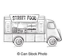 clip art vector of food truck sketch colored food truck sketch
