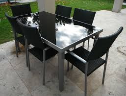 Black Glass Patio Table Outstanding Glass Outdoor Tables High Top Table And Chairs