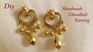 home made earrings diy how to make designer chandbali earring at home