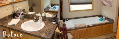 before and after a copper bathroom duet sinkology