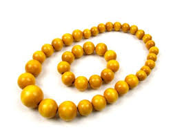 long wood bead necklace images Folkfashion wooden bead necklace and bracelet set yellow jpg