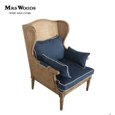 French Wingback Chair Mrs Woods French Style Wooden Hotel Rattan High Back Wing Arm