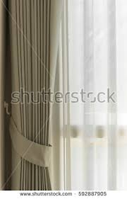 beautiful modern grey white curtains living stock photo 435792454