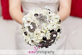 wedding flowers edmonton wedding bouquet inspiration white black jeweled brooch bouquet