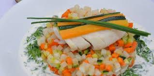 mirepoix cuisine dos de cabillaud sur sa brunoise de legumes aux mille saveurs