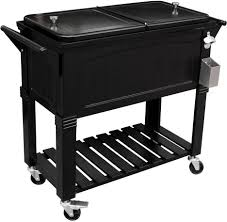 Outdoor Cooler Cart On Wheels by Patio Cooler Cart Black Antique Ice Chest 80 Qt Mobile Standing
