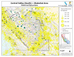 Washington State Earthquake Map by The Great California Shakeout Central Valley South Area
