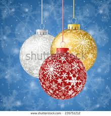 merry christmas greeting card ball ornaments stock vector
