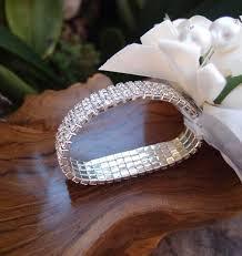 wrist corsage bracelet bracelet silver elastic with rhinestones