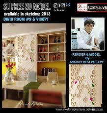 sketchup texture free 3d sketchup model dining room 9 u0026 visopt