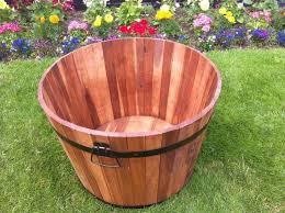 garden barrel planter tubs patio acacia wood metal handles u0026 trim