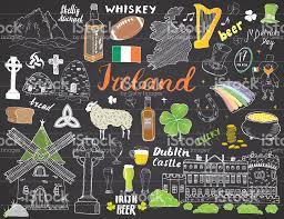 Whiskey Flag Irlandskizzedoodles Hand Gezeichnet Irische Elemente Set Mit