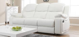 White Leather Recliner Sofa Montreal Blossom White Reclining 3 2 Seater Leather Sofa Set