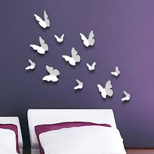 3d butterflies flowers wall stickers walplus 3d butterflies in white