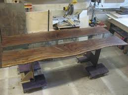 bookmatched walnut slab table