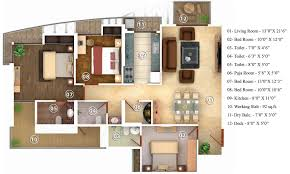 1660 sq ft 3 bhk floor plan image oswal bella vista available