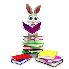 easter bunny books bunny sitting on pile of books stock illustration illustration of