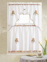 grand owl embroidered ruffle kitchen curtain set valance 60 x 14