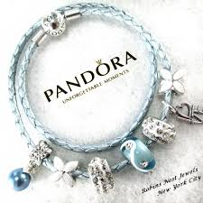 leather bracelet with silver charm images Authentic pandora pandora bracelet leather bracelet light blue jpg