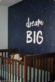 vintage modern navy and gray nursery focal wall starry nights