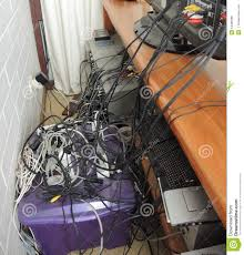 tangled messy electrical cords stock photo image 54489368