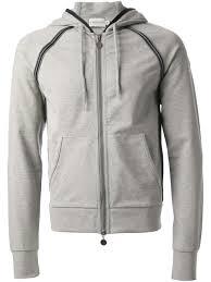 moncler zip front hoodie in gray for men lyst