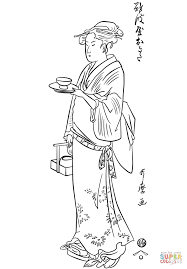 okita the tea house by kitagawa utamaro coloring page free