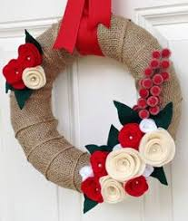 burlap wreath felt flowers wreath neutral wreath wedding