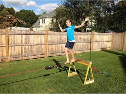 How To Build A Backyard Zip Line by Backyard Slackline Set Up No Trees Or Cement Youtube