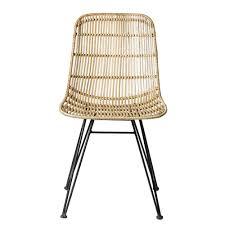 chaise tress e chaise en rotin tressé piètement en métal bloomingville naturel