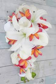 silk wedding bouquets touch tropical casablanca plumerias coral silk wedding bouquet