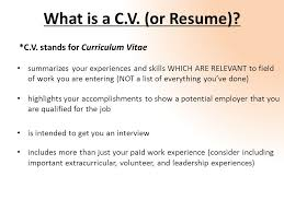 Highlights On A Resume Writing A C V Resume English 214 What Is A C V Or Resume