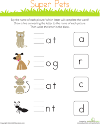 write the missing letter super pets worksheet education com