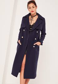 navy longline military coat missguided