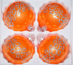4 pcs baubles set 12cm ø in highgloss orange silver