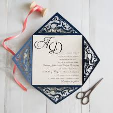 wedding invitations blue navy blue and coral wedding colors inspired laser cut