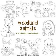 Woodland Animals Coloring Pages Woodland Animal Colouring Pages Messy Little Monster
