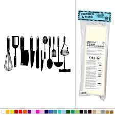 set of kitchen utensils vinyl sticker decal wall art decor ebay