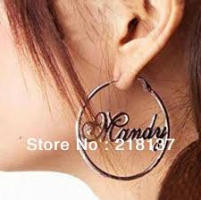 Hoop Earrings With Name Online Shop Free Shipping Fashion Pair Name Earrings 925 Sterling