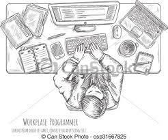 vector illustration of programmer work place sketch programmer