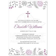 confirmation invitation holy communion confirmation invitation with purple flower border
