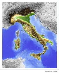Italy Map With Cities 3d Relief Map Of Italy Illustration