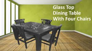 latest wooden dining table glass top with four chairs kreft