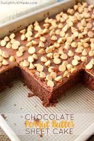 chocolate peanut butter sheet cake delightful e made