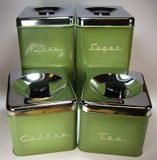 green kitchen canister set avocado green 70 s metal kitchen canister set by pantry my