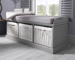 Bench With Storage Baskets by Grey Storage Bench With 3 White Baskets