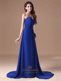 royal blue strapless flowy chiffon bridesmaid dresses with beaded