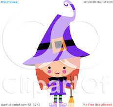 cartoon of a cute in a purple witch halloween costume