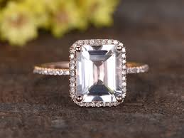 emerald cut engagement rings 2 carat 2 6 carat white topaz engagement ring with 14k gold