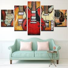 living room canvas 5 piece abstract canvas wall art acoustic guitar lover music poster